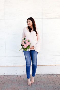 pink bell sleeve blouse with pink flowers