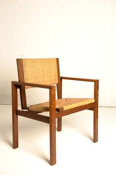 Hein Stolle; Wenge and Rush Armchair for 't Spectrum  c1965.