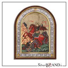 Greek Orthodox Silver Icon Saint Dimitrios with Hagiography Byzantine, Handmade Silver, Saints, Greek, Traditional, Canvas, Painting, Icons, Tattoo