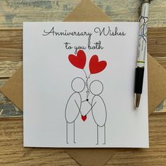 Anniversary Wishes to you both card - Anniversary Card with Love Hearts - Free UK Postage - Posts Worldwide Anniversary Wishes For Parents, Happy Anniversary Cards, 1st Anniversary, Dyi, Friend Birthday Gifts, Happy Birthday, Handmade Birthday Cards, Making Ideas, Wedding Aniversary