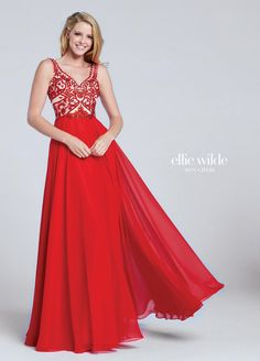 d9e8e42c9c6 Sleeveless chiffon A-line gown with curved V-neckline