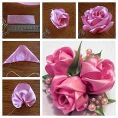 tutoriel diy satinband rosen - www mrsbroos com! Satin Ribbon Roses, Ribbon Art, Diy Ribbon, Ribbon Crafts, Fabric Ribbon, Flower Crafts, Satin Flowers, Diy Lace Ribbon Flowers, Diy Crafts
