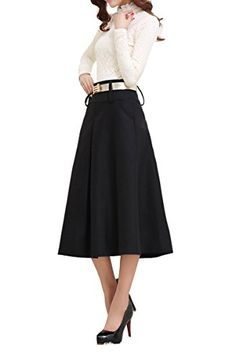 Tribear Women's Vintage High Waist Wool A-line Pleated Midi Skirts, 19.99$, Vintage Clothing http://secretofdiva.com/product/tribear-womens-vintage-high-waist-wool-a-line-pleated-midi-skirts/