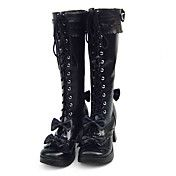 Handmade Black PU Leather 7.5cm High Heel Sweet Lolita Boots