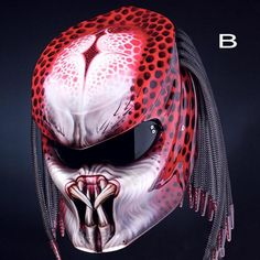 New Predator Helmet Emperor Custom Motorcycle DOT Certified Red Insects, Predator Helmet, Predator Costume, Predator Alien, Custom Helmets, Custom Bikes, Motorcycle Helmets, Street Fighter, Picture Design