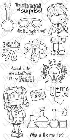 I want this Cutie Pi set! Chemistry inspired stamps!