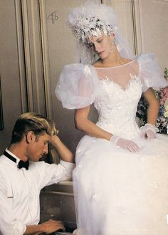Typical example of the excesses--especially in bridal wear--of the This is actually one of the better designs, if it were scaled down somewhat. 1980s Wedding Dress, Retro Wedding Dresses, Colored Wedding Dresses, Bridal Dresses, Wedding Gowns, Chic Vintage Brides, Vintage Bridal, Bridal Lace, Bridal Style