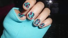 Pink Cheetah print nails with a turquoise background♥ #beauty #nails