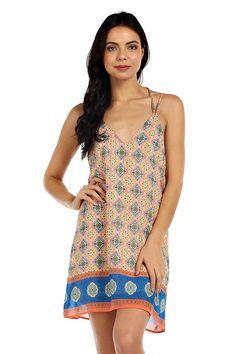 INDIAN PRINT OPEN BACK CAMI DRESS- Orange