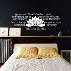 The secret of health Buddha Quote Yoga Lotus Flower Decals Wall Decal Vinyl Sticker Wall Decor Home Interior Design Art Mural