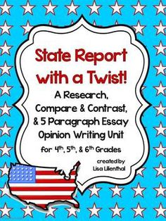 "This is not your typical ""state report"". With this opinion writing project, students will learn about two states and decide which state is a better place for them to live based on factors that appeal to them. Then they will write a five paragraph opinion essay giving examples, facts, and reasons explaining why one state is a better place to live than the other. Meets Common Core Standards."