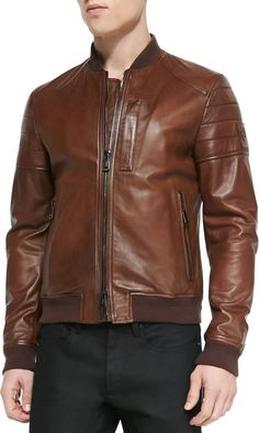 $1,895, Brown Leather Bomber Jacket: Belstaff Tumbled Lightweight Leather Jacket Brown. Sold by Neiman Marcus. Click for more info: https://lookastic.com/men/shop_items/126816/redirect