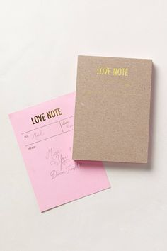 Letterpress notepad - love notes // @Jenny Hershberger I haven't seen these on Pinterest before, but they just popped up today! The light pink ones are very cute I wish I had those too. :)