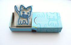 Zombie Cat Hand Carved Stamp