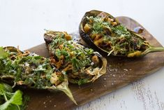 Maggie Beer's Baked Eggplant Stuffed with Sourdough Crumbs, Pecorino, Garlic, Anchovies and Mint