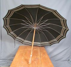 """Umbrella is 35"""" Wide, when fully open. Makes an amazing Display piece! & would also make a perfect Theater Prop. Black, with a Silver 'Gradient' Ring around outside & at center. Still in very nice condition & Displays Great. 