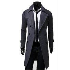 Bleuziel Mens Coat - Long Solid Color Slim Fit  Trench Overcoat (3 types)