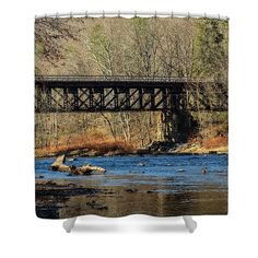 railroad train bridge rustic home decor Underwater Photography, Macro Photography, Fine Art Photography, Landscape Photography, Railroad Bridge, Shower Curtain Rings, Table Top Display, Curtains For Sale, Rustic Bathrooms