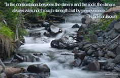 """In the confrontation between the stream and the rock, the stream always wins, not through strength but by perseverance."" - H. #Jackson #Brown #quote"