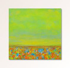 Original abstract art yellow green landscape by garimadesigns