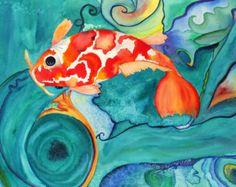 Playing Koi Watercolor Print