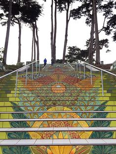 Lincoln Park Steps, one of many tiled staircases in San Francisco