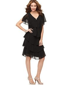 Patra Dress, Short Sleeve Beaded Tiered - Womens Mother of the Bride Dresses - Macy's