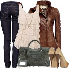 """""""Leather and Lace"""" by styleofe on Polyvore"""