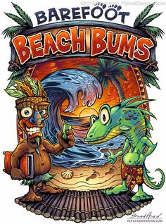 Here is the final copy for Barefoot Beach Bums, a beach and nautical shop in Missouri. #art #beachbum #tiki