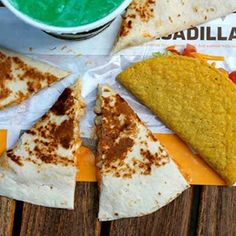 $5.39 Quesadilla Combo. drink+chicken quesadilla+crunchy taco.   a simple flour tortilla with some meat, a hefty portion of melted three-cheese blend, creamy jalapeno sauce, and absolutely zero bells and whistles.