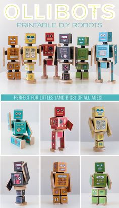 6 printable DIY Robots�perfect for presents! The magnets or velcro connectors make it so fun for kids to play and interact with them! (at caravanshoppe.com)