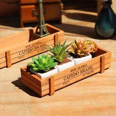 New Wooden Garden Vintage Planter Flower Box Succulent Rectangle Office Plants Storage Box Pot For Home Decorative