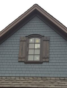 Items similar to AVAILABLE: Cedar Shutters with Decorative Clavos / Cedar Board & Batten Shutter / exterior shutters / stained shutters / board and batten on Etsy Blue Siding, Siding Colors, Exterior Paint Colors For House, Paint Colors For Home, Cabin Exterior Colors, Café Exterior, Exterior Design, Exterior Shutters, Exterior Remodel