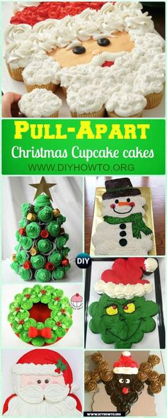 Christmas Pull Apart Cupcake Cake Decoration Ideas, All About Pull Apart Santa, Reindeer, Christmas Tree, Wreath #Cupcake Cakes... via @diyhowto