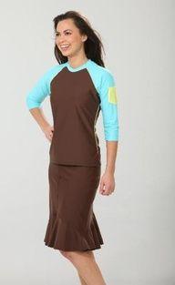 Long Brown Swim Skirt #Modest #Swimwear #Skirt