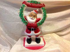RARE Find Vintage Plastic Rosbro Santa w Wreath and Teddy Bear | eBay