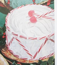 Decorate holiday cake with peppermint sticks! This one is meant to look like a drum, idea from Better Homes & Garden Christmas Ideas for 1958 Magazine https://www.etsy.com/listing/172135124/1958-better-homes-gardens-christmas?ref=shop_home_active