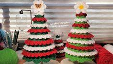 Tabletop Christmas Tree, Crochet Christmas Trees, Small Christmas Trees, Holiday Crochet, Christmas Decorations, Christmas Ornaments, Holiday Decor, Learn To Crochet, Easy Crochet