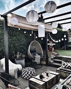 patio ideas on a budget ; patio ideas on a budget backyard ; patio ideas on a budget diy ; patio ideas on a budget pavers Outdoor Spaces, Outdoor Living, Outdoor Decor, Outdoor Patios, Outdoor Seating, Rooftop Decor, Outdoor Pouf, Rooftop Patio, Outdoor Balcony