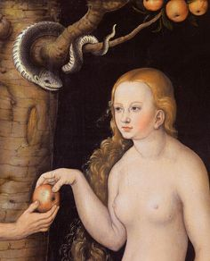 Adam And Eve Paintings - Eve offering the apple to Adam in the Garden of Eden and the serpent by Cranach Recital, Apple Campus 2, Adam Et Eve, Lucas Cranach, The Falling Man, Garden Of Eden, Our Lady, Renaissance, Fine Art America