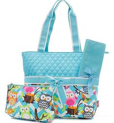 Three piece diaper bag set featuring aqua blue chevron and owls. So cute and a great gender neutral option for baby boys or girls! Set includes diaper bag, changing pad, and zipper pouch. Material:Qui