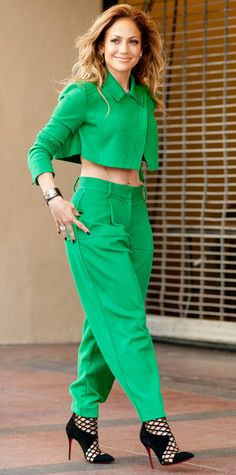 Look of the Day - October 29, 2014 - Jennifer Lopez in green with black Louboutin cage booties from #InStyle