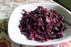 Sweet and smoky red cabbage tossed with garlic and poppy seeds.