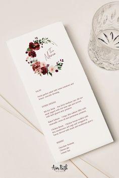 Burgundy Wedding Menu Card Template - Burgundy Party Theme #burgundywedding #maroonwedding #merlotwedding #marsalawedding #burgundyflorals #maroon #burgundy #wedding #weddinginspo #bridetobe #weddingdecor #bridalshowerdecor #burgundybridal #template #printable #diy #editable #personalized #winterwedding #fallwedding #autumnwedding #weddingmenu #menu #menutemplate #menucard Print Your Own Wedding Programs, Fall Wedding Programs, Rustic Bohemian Wedding, Wedding Dinner Menu, Wedding Menu Template, Program Template, Winter Weddings, Wedding Welcome, Floral Watercolor