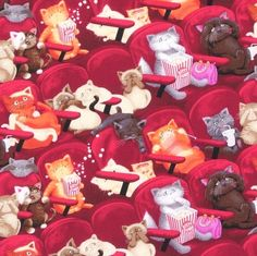 Stoff Tiermotive - Witzige Katzen im Kino Patchwork 50x110 cm - ein Designerstück von SchoenesausStoff bei DaWanda