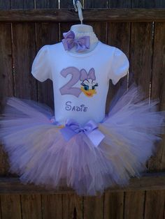 Lavender Daisy Duck Birthday Personalized Tutu by confettydesigns, $40.00