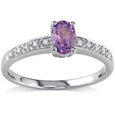 Miadora 10k Gold Created Alexandrite and Diamond Accent Ring (Size 0.07), Women's, Size: 6.75, Purple