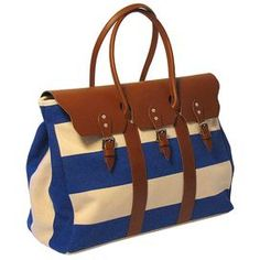 """Perfect for a weekend trip or cross-country adventure, this lovely sport duffle features an Italian calfskin leather trim and royal blue striping. Product:  Duffel  Construction Material: Delave cotton canvas and Italian calfskin leatherColor: Royal blueFeatures: 8"""" Inside zip pocketTwo interior pockets Stain-proof treatment appliedSoft, breathable liningDimensions:  14"""" H x 20"""" W x 9"""" D"""