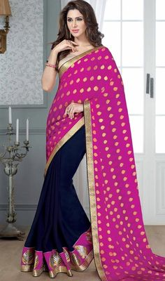 Accentuate your beautiful self with this royal blue and pink color georgette jacquard half n half sari. This attire is well designed with lace and resham work. Upon request we can make round front/back neck and short 6 inches sleeves regular saree blouse also. #AttractiveFushiaPinkAndNavyBlueGeorgettJacquardSari