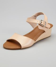 Take a look at this Beige LC-80 Wedge Sandal by TOP MODA on #zulily today!